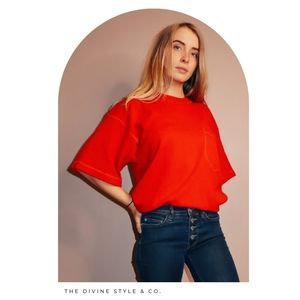 Neiman Marcus Cashmere Red Sweater - One Size